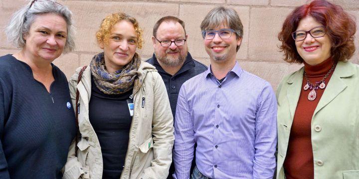 Gruppenbild Fachgruppe Freie im BJV: Anne Webert, Adriane Lochner, Martin Semmler, Johannes Michel und Marion Trutter
