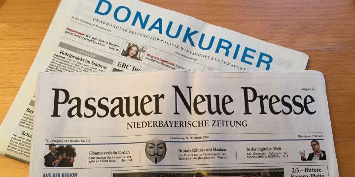 Titelseiten der Passauer Neue Presse und des Donaukurier vom 24.11.2016