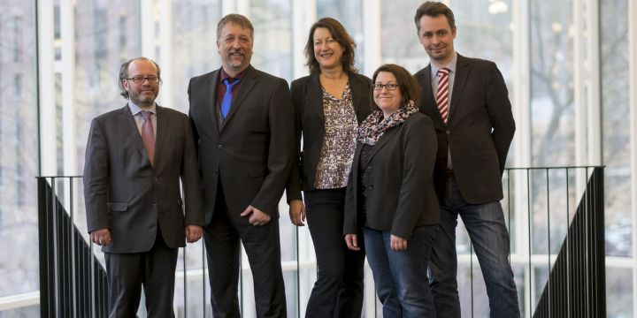Der geschäftsführende Vorstand des BJV mit Markus Hack, Michael Busch, Andrea Roth, Daniela Albrecht und Ralph Bauer