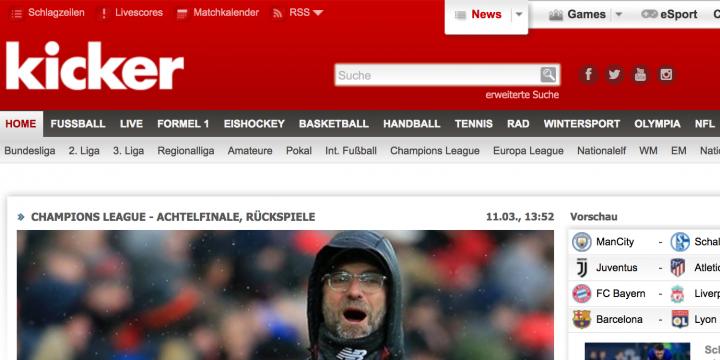 Screenshot der Kicker.de-Startseite vom 11.03.2019