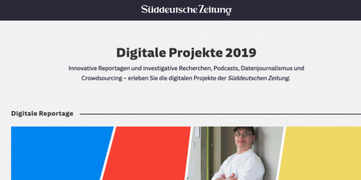 Screenshot von SZ.de, Digitale Projekte 2019