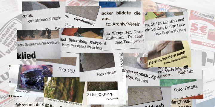 Collage mit falschen Fotovermermerken in Tageszeitungen