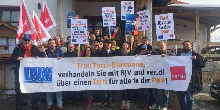 Streikende Journalisten der Passauer Neuen Presse