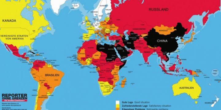 Weltkarte der Reporter ohne Grenzen zur Pressefreiheit weltweit 2017